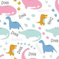 patrón sin fisuras con lindo dinosaurio y palabra dino dibujada a mano vector