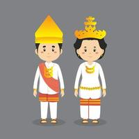 Couple Character Wearing Lampung Traditional Dress vector