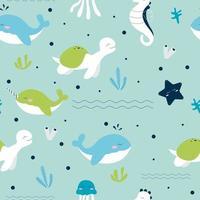 Seamless pattern of sea animals life vector