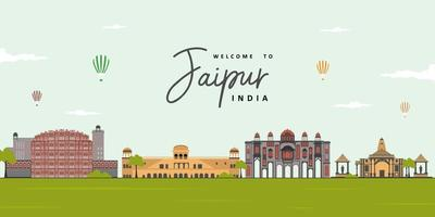 Jaipur skyline, Rajasthan, India. City landscape view of famous landmark at Jaipur. Tourist attraction and UNESCO World Heritage site. Highly recommended for tourist visit and vacancy.