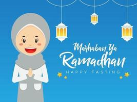 Ramadhan Greeting Background with Character vector