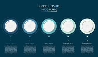 Minimal timeline circle infographic template five options or steps. vector