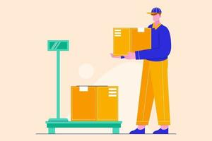 Creative illustration of delivery man weights boxes. Fast delivery service vector concept.
