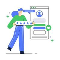 Illustration of people give feedback on application. Customer review website page. vector