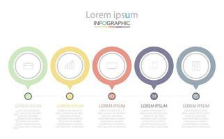 Plantilla de infografía de círculo de línea de tiempo mínima cinco opciones o pasos. vector