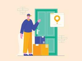 Vector illustration of service delivery man concept. Courier leaves parcel at the door.