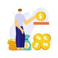 ilustración vectorial de personas ahorrando dinero en frasco o caja. concepto de planificación presupuestaria. vector