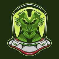 alien wearing astronaut helmet vector design