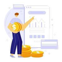 Aplicación móvil de planificación financiera y presupuestaria. administración de dinero bancario, de deuda y familiar. ilustración vectorial de personas. vector