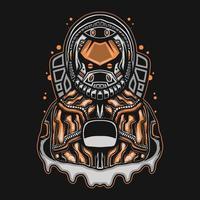 astronauta con ilustración de vector de traje naranja