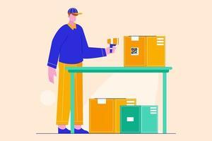 Ilustración plana del servicio de entrega. transporte logístico y montacargas, camión de carga de reparto. Escaneo de cajas de cartón. vector