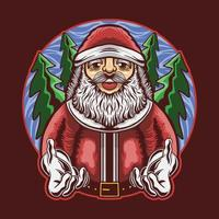 santa claus pose gives a hand with tree background vector