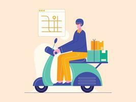 Mensajero hombre en motocicleta con paquete de caja. Ilustración de vector de servicio de entrega