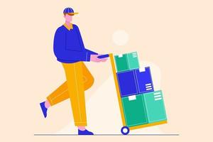 Vector illustration of delivery man with boxes. Fast delivery service concept.