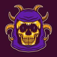 skull head vector with horn illustration design