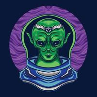 alien with costume astronaut on space vector illustration