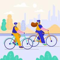 dos personas van en bicicleta por la plantación. Haga ejercicio con la familia para mantener el cuerpo sano y evitar los virus. vector