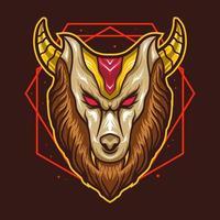 Cabeza de león con cuerno, diseño de ilustraciones vectoriales vector