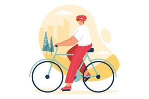 Person exercises on bike at city park. Healthy lifestyle vector illustration concept.