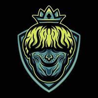 king head wearing crown vector illustration