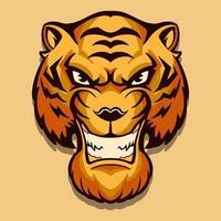 Diseño de ilustración de vector de cabeza de tigre aislado sobre fondo claro