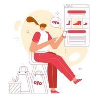 concepto de ilustración de vector de compras en línea. las mujeres compran cosas por teléfono.