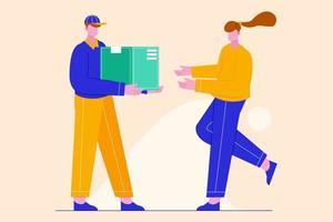 Ilustración del repartidor entregar al cliente. concepto de servicio de entrega rápida y segura. vector