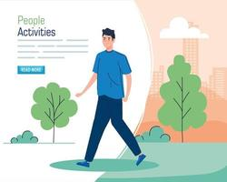 Banner with a young man walking outdoors vector