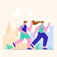 Illustration of people running in city public park. Couple man and woman. vector