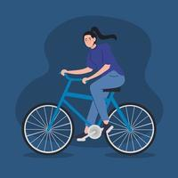 young woman riding a bike avatar character vector