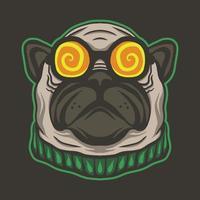 bulldog head wearing eyeglasses vector illustration