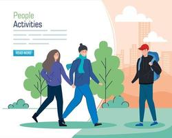 Banner with a young people walking outdoors vector