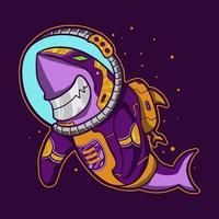 astronauta de tiburón flotando en el diseño de vectores espaciales
