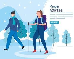 banner con gente joven caminando al aire libre. vector
