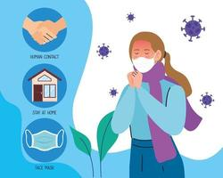 Young woman with covid 19 symptoms infographic vector