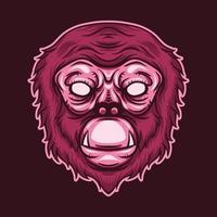 monkey head isolated on dark background vector