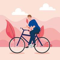 Young man riding a bicycle outdoors vector