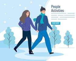 Banner with a young couple walking in a winter landscape vector