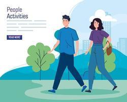 banner con una pareja joven caminando al aire libre vector