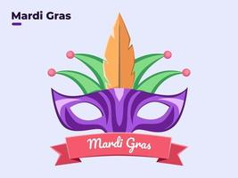 Flat style illustration of Mardi Gras face mask masquerade with colorful, happy Mardi Gras day, Festive Mardi Gras festival, Carnival Mardi Gras equipment, Venice festival, Fat Sunday, Party. vector