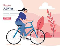 banner with a young woman riding a bike outdoors vector