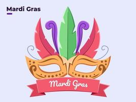 Flat style illustration of colorful Mardi Gras face mask masquerade with feather vector