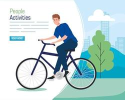 banner with a young man riding a bike outdoors vector