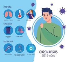 Young man with covid 19 symptoms infographic vector