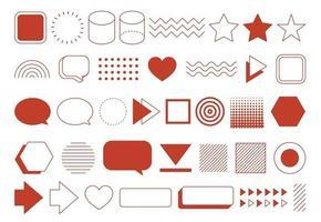 Conjunto de formas geométricas de elementos de diseño retro. diseño vintage con línea y forma abstracta. vector
