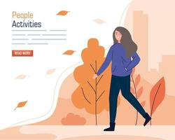 Banner with a young woman walking outdoors vector