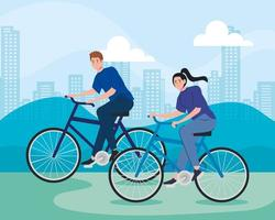 young couple riding bikes outdoors vector