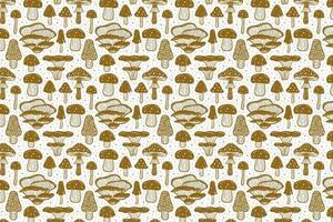 Forest mushrooms. Pattern, texture, background. Packaging design. Ink vector. Golden monochrome design. Botanic, nature. vector