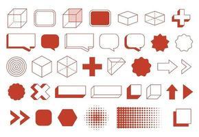 Conjunto de formas geométricas de elementos de diseño retro. diseño vintage con línea y forma abstracta.