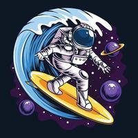 Los astronautas surfean en una tabla de surf en el espacio con estrellas, planetas y olas del océano. vector